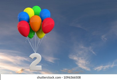 Number 2 party celebration. Number attached to a bunch of balloons. 3D Rendering
