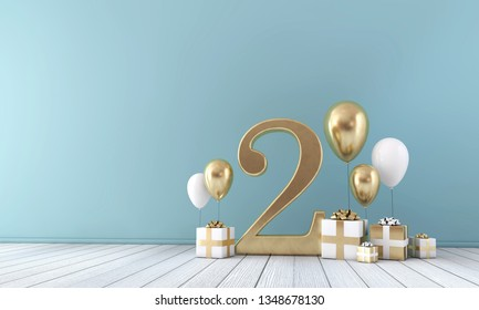 Number 2 party celebration room with gold and white balloons and presents. 3D Render