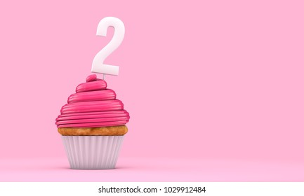 Number 2 pink birthday celebration cupcake. 3D Rendering
