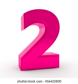 Number 2 pink color collection on white background illustration 3D rendering