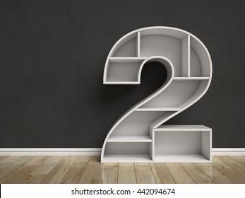 Number 2 shaped shelves 3d rendering