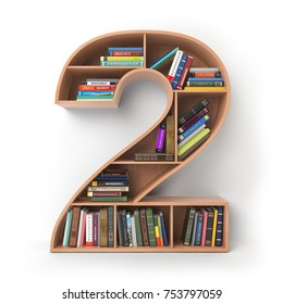 Number 2 two.. Alphabet in the form of shelves with books isolated on white. 3d illustration