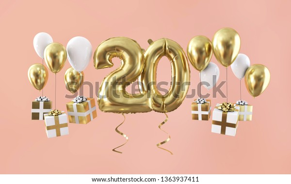 Number 20 birthday celebration gold balloon with presents. 3D Render