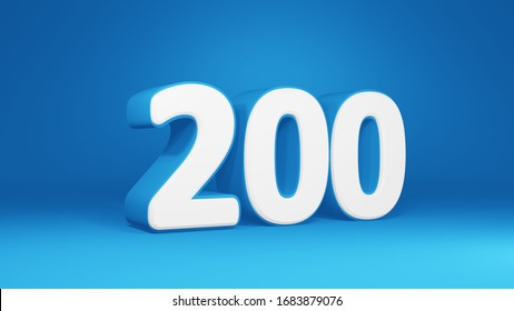 Number 200 in white on light blue background, isolated number 3d render
