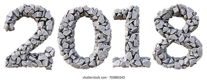 Number 2018 from the stones. isolated on white background. 3D illustration