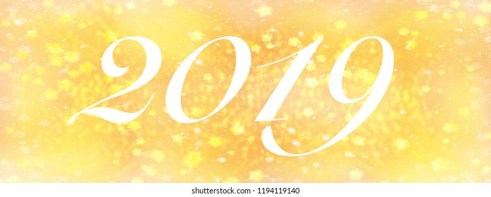 the number 2019 on golden glitter background