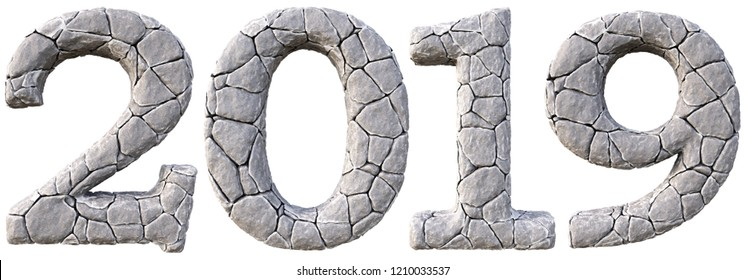 Number 2019 from the stones. isolated on white background. 3D illustration