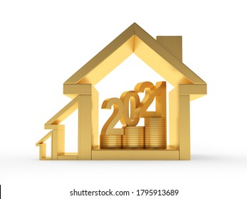 Number 2021 on coins inside the house icons of various sizes isolated on white. 3D illustration