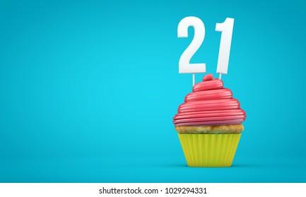 Number 21 birthday celebration cupcake. 3D Rendering