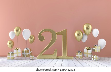 Number 21 birthday party composition with balloons and gift boxes. 3D Rendering