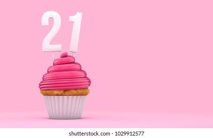 Number 21 pink birthday celebration cupcake. 3D Rendering