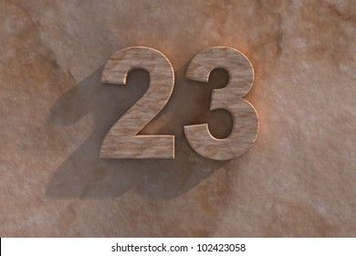 Number 23 embossed or carved from marble placed on a matching marble base