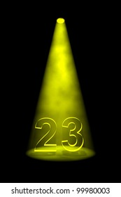 Number 23 illuminated with yellow spotlight on black background