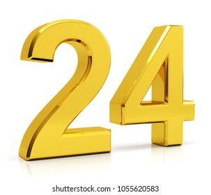 Number 24 isolated on white background. 3d illustration