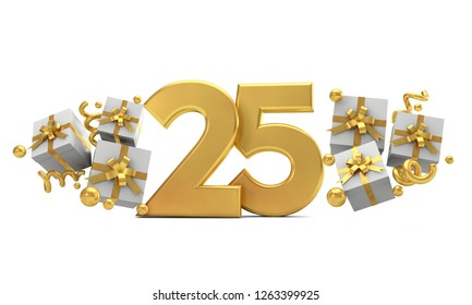 Number 25 gold birthday celebration number with gift boxes. 3D Rendering