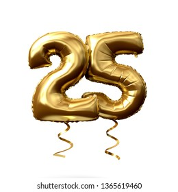 Number 25 gold foil helium balloon isolated on a white background. 3D Render