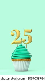 Number 25 mint green birthday celebration cupcake. 3D Rendering