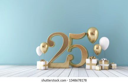 Number 25 party celebration room with gold and white balloons and gift boxes. 3D Rendering