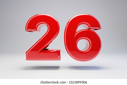 Number 26 isolated on white background. 3D rendered glossy red number best for anniversary, birthday, celebration.