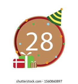 Number 28th, Number write on brown and red line box, icon, isolated on white background, Happy birthday, anniversary.