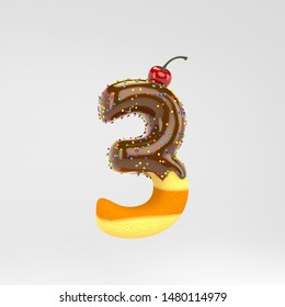 Number 3. Cake font with chocolate, sprinkles and cherry on top. 3d rendered alphabet type isolated on white background. Best for birthday party, celebration, anniversary.