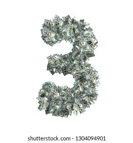 The Number 3 made from new 100 Dollar bills - 3D Rendering
