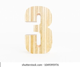 Number 3 made with wood on a white background. 3d Rendering.