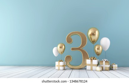 Number 3 party celebration room with gold and white balloons and gift boxes. 3D Rendering