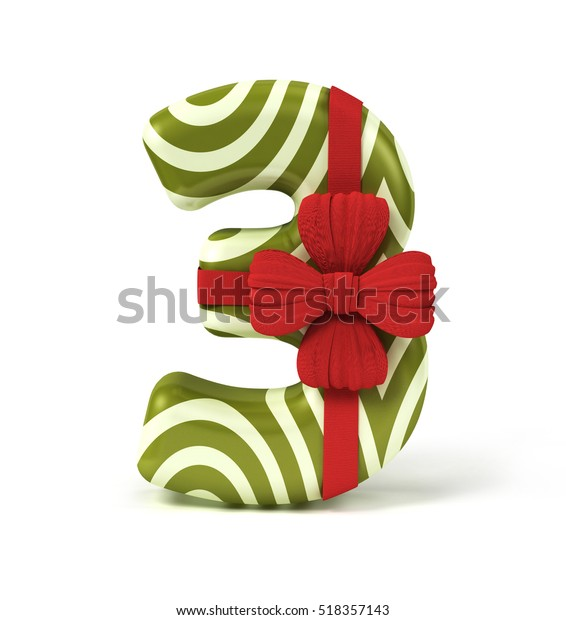 Number 3 Three Decorated Gift Box Stock Illustration 518357143