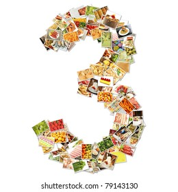 Number 3 Three with Food Collage Concept Art