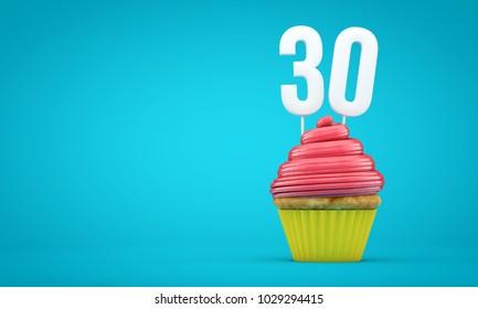 Number 30 birthday celebration cupcake. 3D Rendering