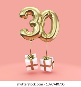 Number 30 birthday celebration gold foil helium balloon with presents. 3D Render