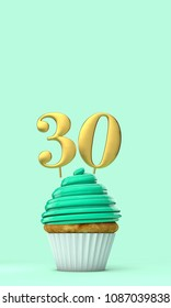 Number 30 mint green birthday celebration cupcake. 3D Rendering