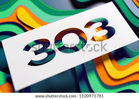 Number 303 On Mint Color Yellow Stock Illustration - Royalty Free