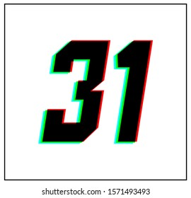 Number 31. Dynamic, split-color design and unique font, shadow of  number blue, green, red. in black thin frame and on white background.