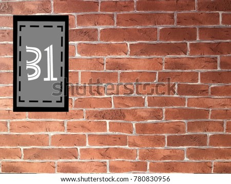 Number 31 On Gray Rectangle Place Stock Illustration