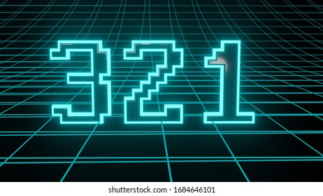 Number 321 in neon glow cyan on grid background, isolated number 3d render