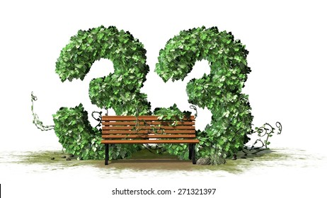 Number 33, alphabet of green ivy leaves behind park bench - separated on white background