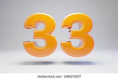 Number 33 isolated on white background. 3D rendered glossy orange number best for anniversary, birthday, celebration.