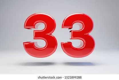 Number 33 isolated on white background. 3D rendered glossy red number best for anniversary, birthday, celebration.