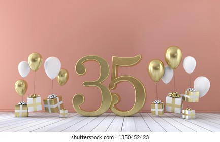 Number 35 birthday party composition with balloons and gift boxes. 3D Rendering