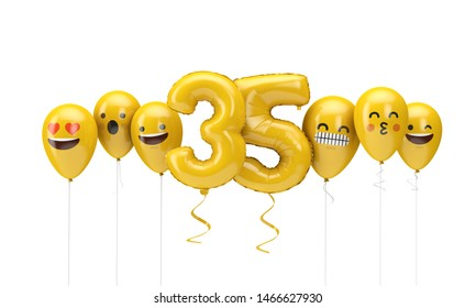Number 35 yellow birthday emoji faces balloons. 3D Render