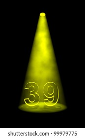 Number 39 illuminated with yellow spotlight on black background