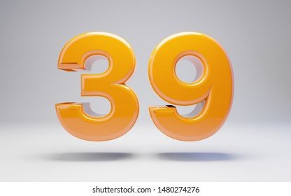 Number 39 isolated on white background. 3D rendered glossy orange number best for anniversary, birthday, celebration.