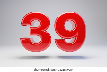 Number 39 isolated on white background. 3D rendered glossy red number best for anniversary, birthday, celebration.