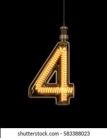 Number 4, Alphabet  made of light bulb. 3D illustration