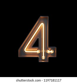 Number 4, Alphabet made from Neon Light with clipping path. 3D illustration