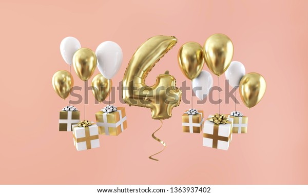 Number 4 birthday celebration gold balloon with presents. 3D Render