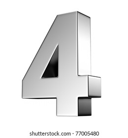 Number 4 from chrome solid alphabet. There is a clipping path