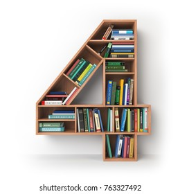 Number 4 four. Alphabet in the form of shelves with books isolated on white. 3d illustration